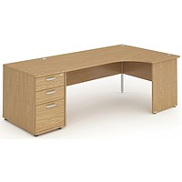 Impulse Panel End Corner Desk with 800mm Pedestal, Right Hand, 1600mm Wide, Oak