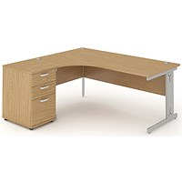 Impulse Plus Corner Desk with 600mm Pedestal, Left Hand, 1600mm Wide, Silver Cable Managed Legs, Oak