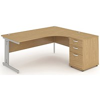 Impulse Plus Corner Desk with 600mm Pedestal, Right Hand, 1600mm Wide, Silver Cable Managed Legs, Oak