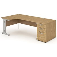 Impulse Plus Corner Desk with 800mm Pedestal, Left Hand, 1600mm Wide, Silver Cable Managed Legs, Oak