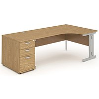 Impulse Plus Corner Desk with 800mm Pedestal, Right Hand, 1800mm Wide, Silver Cable Managed Legs, Oak
