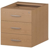 Impulse Fixed 3 Drawer Pedestal, Oak