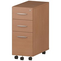 Impulse Slim 3 Drawer Mobile Pedestal, Beech