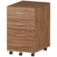 Impulse 3 Drawer Mobile Pedestal, Walnut