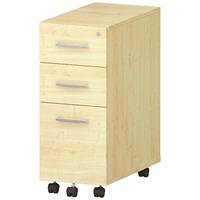 Impulse Slim 3 Drawer Mobile Pedestal, Maple