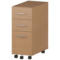 Impulse Slim 3 Drawer Mobile Pedestal, Oak