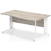 Impulse 1600mm Wave Desk, Right Hand, Cable Managed White Legs, Grey Oak