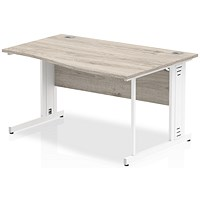 Impulse 1400mm Wave Desk, Right Hand, Cable Managed White Legs, Grey Oak