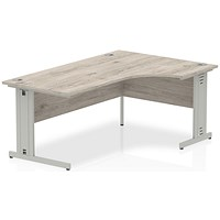 Impulse 1800mm Corner Desk, Right Hand, Cable Managed Silver Legs, Grey Oak