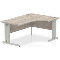 Impulse Plus 1600mm Corner Desk, Right Hand, Cable Managed Silver Legs, Grey Oak