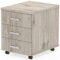 Impulse Mobile 3 Drawer Pedestal - Grey Oak