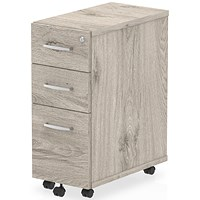 Impulse Slim 3 Drawer Mobile Pedestal - Grey Oak