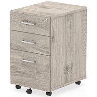 Impulse 3 Drawer Mobile Pedestal, Grey Oak