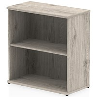 Impulse Low Bookcase, 1 Shelf, 800mm High, Grey Oak