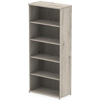 Impulse Tall Bookcase, 4 Shelves, 2000mm High, Grey Oak