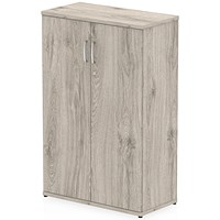 Impulse Medium Office Cupboard, 2 Shelves, 12000mm High, Grey Oak