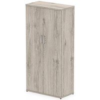 Impulse Medium Tall Office Cupboard, 3 Shelves, 1600mm High, Grey Oak