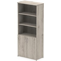 Impulse Tall Cupboard, Open Shelves, 2000mm High, Grey Oak