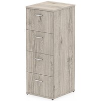Impulse Foolscap Filing Cabinet, 4-Drawer, Grey Oak