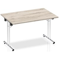 Impulse Rectangular Folding Meeting Table, 1200mm, Grey Oak