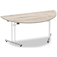 Impulse Semi-circular Folding Meeting Table, 1600mm, Grey Oak