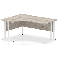 Impulse 1600mm Corner Desk, Left Hand, White Legs, Grey Oak