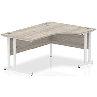 Impulse 1600mm Corner Desk, Right Hand, White Legs, Grey Oak