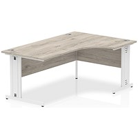 Impulse 1600mm Corner Desk, Right Hand, Cable Managed White Legs, Grey Oak