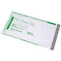 Initial Cash Note Bag takes £500 in 100 x £5 Notes (Pack of 500)