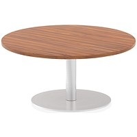 Italia Poseur Round Table, 1000mm Diameter, Low, Walnut