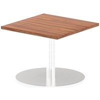 Italia Poseur Square Table, 600mm Wide, Low, Walnut