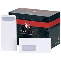 Plus Fabric DL Pocket Envelopes with Window, White, Peel and Seal, 120gsm, Pack of 500