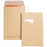 New Guardian C4 Gusset Envelopes with Window, 25mm Gusset, Peel & Seal, Manilla, Pack of 100