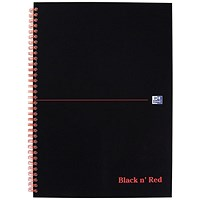 Black n' Red Wirebound Notebook, A4, 5mm Quadrille, 140 Pages, Pack of 5