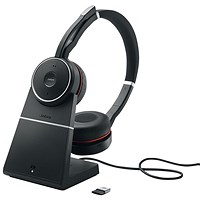 Jabra Evolve 75 Skype for Business Black Headset with Charging Stand 7599-832-199