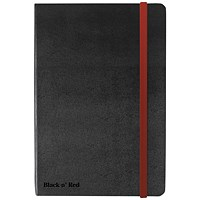 Black n' Red Casebound Notebook, A6, Ruled & Numbered, 144 Pages
