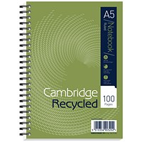 Cambridge EveryDay Recycled Wirebound Notebook, A5, Ruled, 100 Pages, Pack of 5