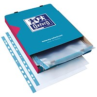 Oxford Punched Pocket 75micron A4 Blue/Clear (Pack of 100)