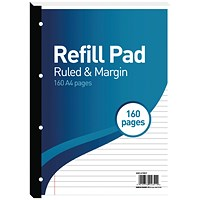 Hamelin 8mm Ruled/Margin Refill Pad A4 80 Sheet (Pack of 5)
