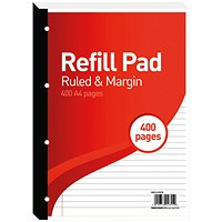 Hamelin 8mm Ruled/Margin Refill Pad A4 400 Sheet (Pack of 5)
