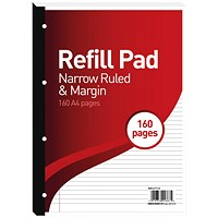 Hamelin 6mm Ruled/Margin Refill Pad A4 80 Sheet (Pack of 5)