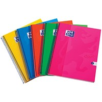 Oxford Touch Wirebound Hardback Notebook A4 Assorted (Pack of 5)