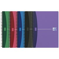 Oxford Metallics Wirebound Notebook, A5, Ruled, 180 Pages, Random Colour, Pack of 5