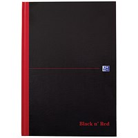 Black n' Red Casebound Notebook, A4, Smart Ruled, 90gsm, 96 Pages