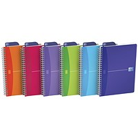 Oxford Office Wirebound Notebook, A5, 180 Pages, Random Bright Colour, Pack of 5
