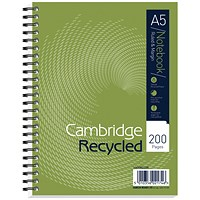 Cambridge Recycled Wirebound Notebook, A5, Ruled with Margin, 200 Pages, Green, Pack of 3