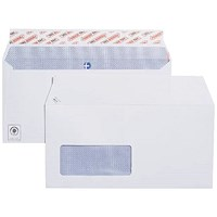Plus Fabric DL Wallet Envelopes with Window, White, Peel & Seal, 120gsm, Pack of 500