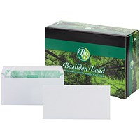 Basildon Bond Recycled Plain DL Envelopes, White, Peel & Seal, 120gsm, Pack of 500