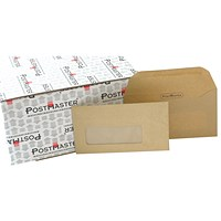 Postmaster DL Envelope with Window, 80gsm, Manilla, (Pack of 500)