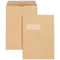 New Guardian Heavyweight C4 Pocket Envelopes with Window, Manilla, Peel & Seal, 130gsm, Pack of 250